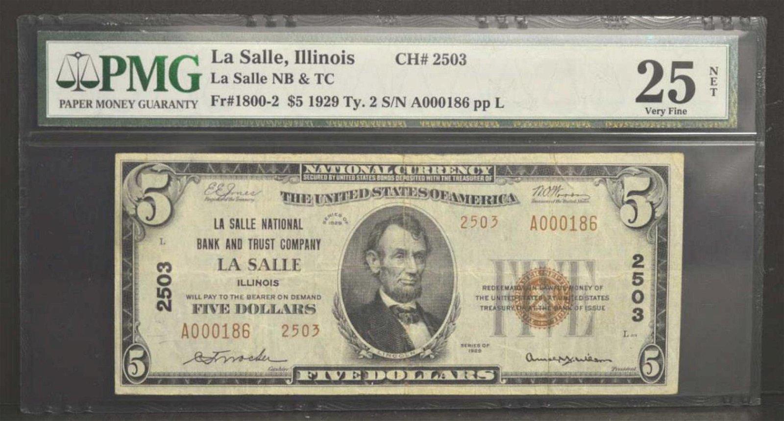 1929 $5 La Salle IL Ty2 Low Serial# PMG VF 25 NET