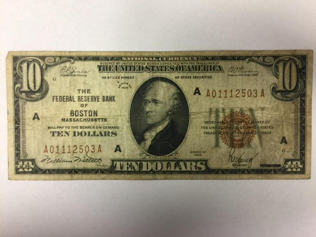 1929 $10.00 National Currency Boston, MA  VG