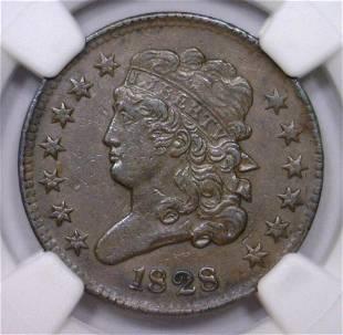 1828 Classic Head Half Cent NGC AU details scrtch