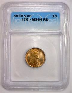 1909 VDB Lincoln Cent 1st Year Issue ICG MS64 RD