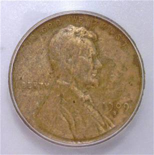 1909S Lincoln Cent 1st Year Issue ICG F12 details