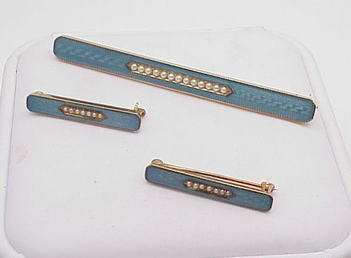 11: Set of 3 14kt Enamel Bar Pins