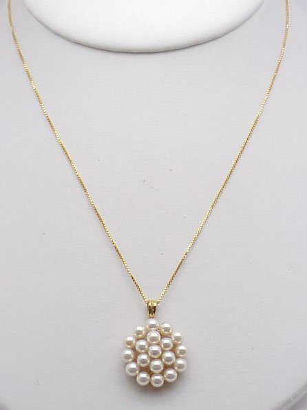 12: Pearl Pendant on 14 kt Yel. Gold Chain