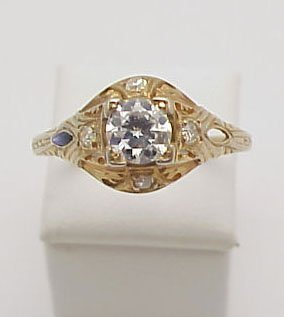 21: 18kt Vintage Filigree Engagement Ring
