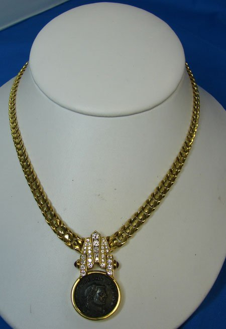 93: 18kt Diamond Necklace w/ancient coin