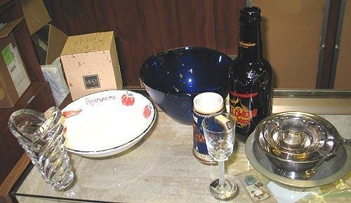 1: Box lot of stemware, vase, silverplate