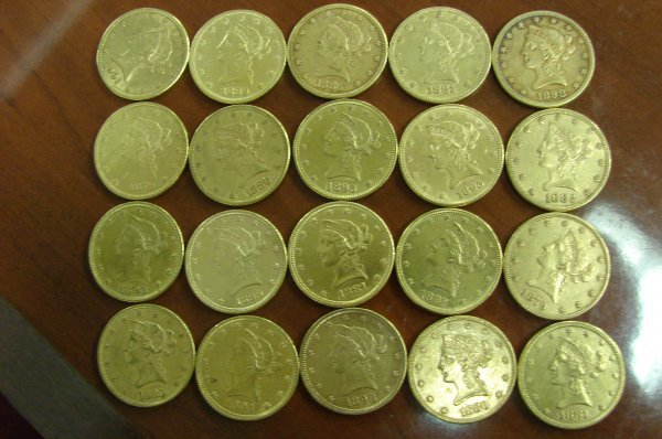 3257: 20 pc. Roll $10.00 Liberty Gold Coin - Investor L