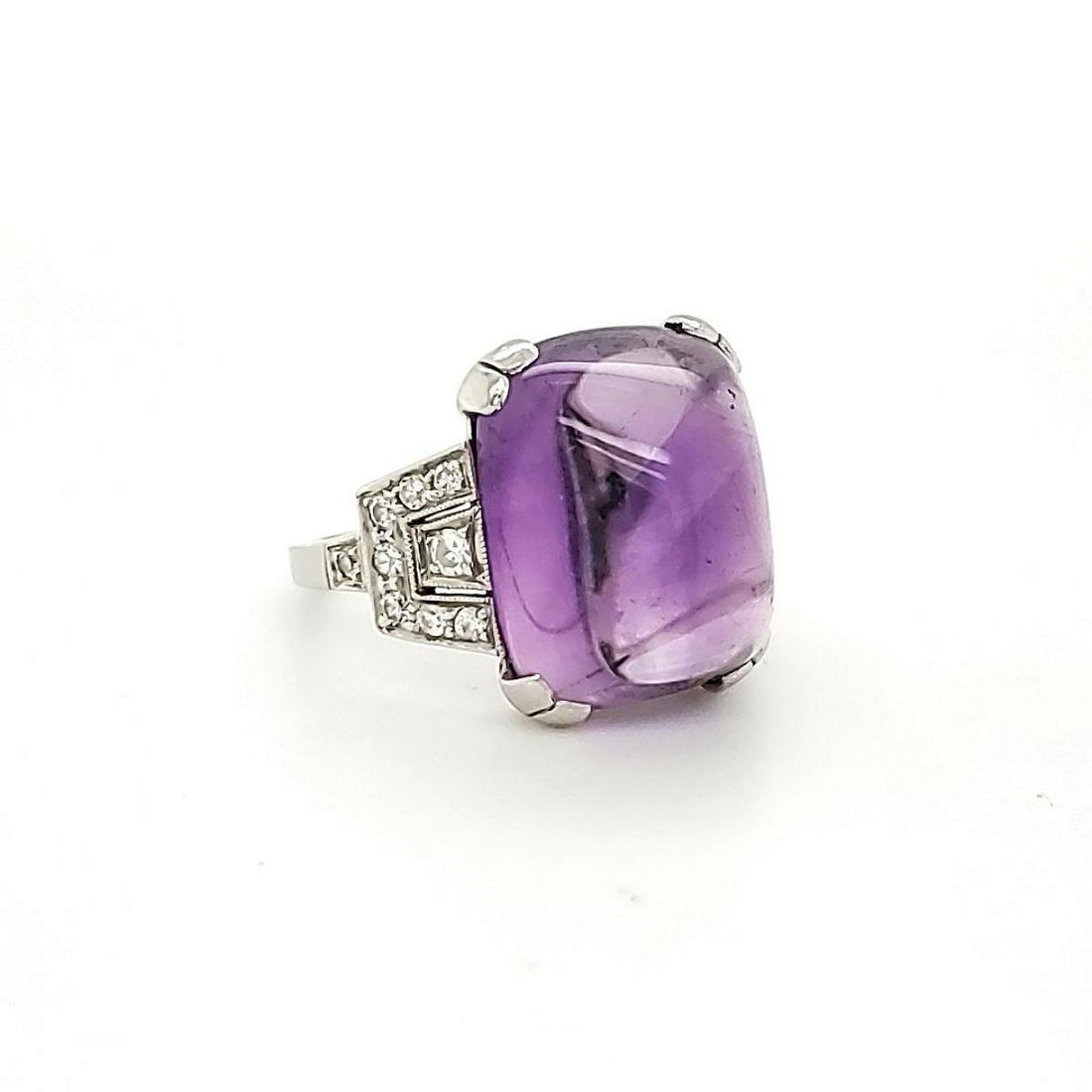 Tiffany & Co. Platinum Amethyst and Diamond ring