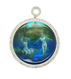 Platinum hand painted diamond pendant