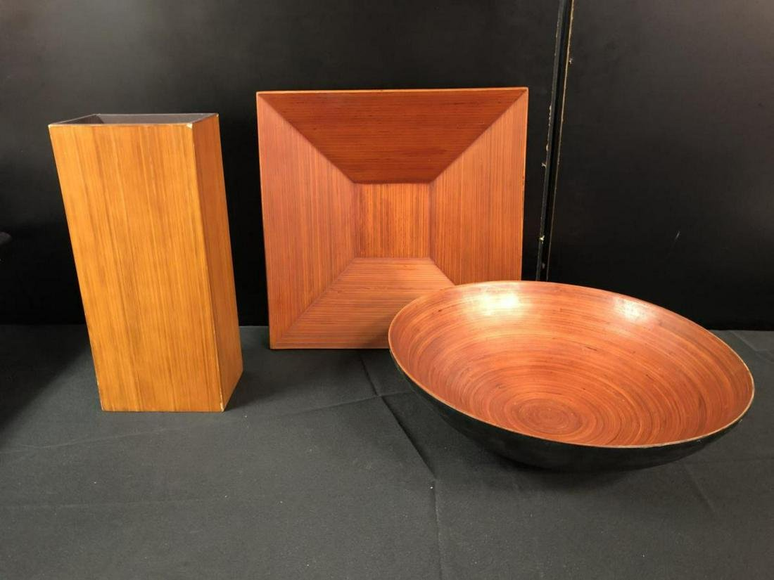 Group of Three Large Wooden Look Decor Items