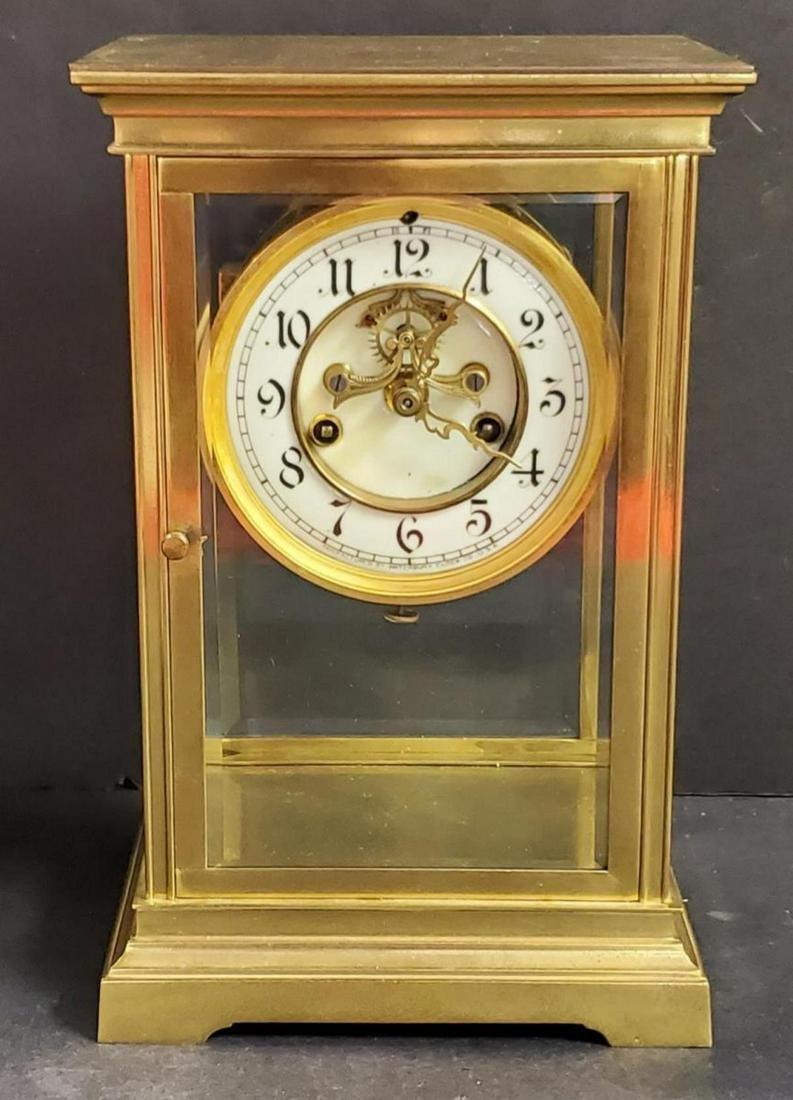 Waterbury Brass & Beveled Glass Regulator Clock
