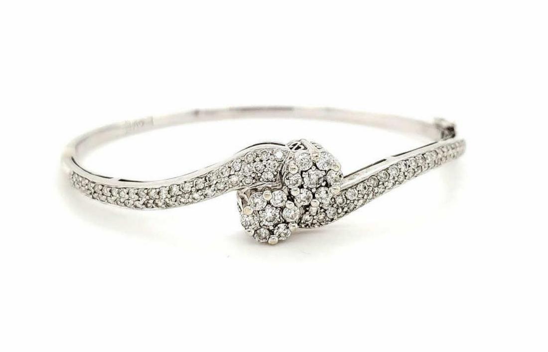 14kt white gold diamond cluster bracelet