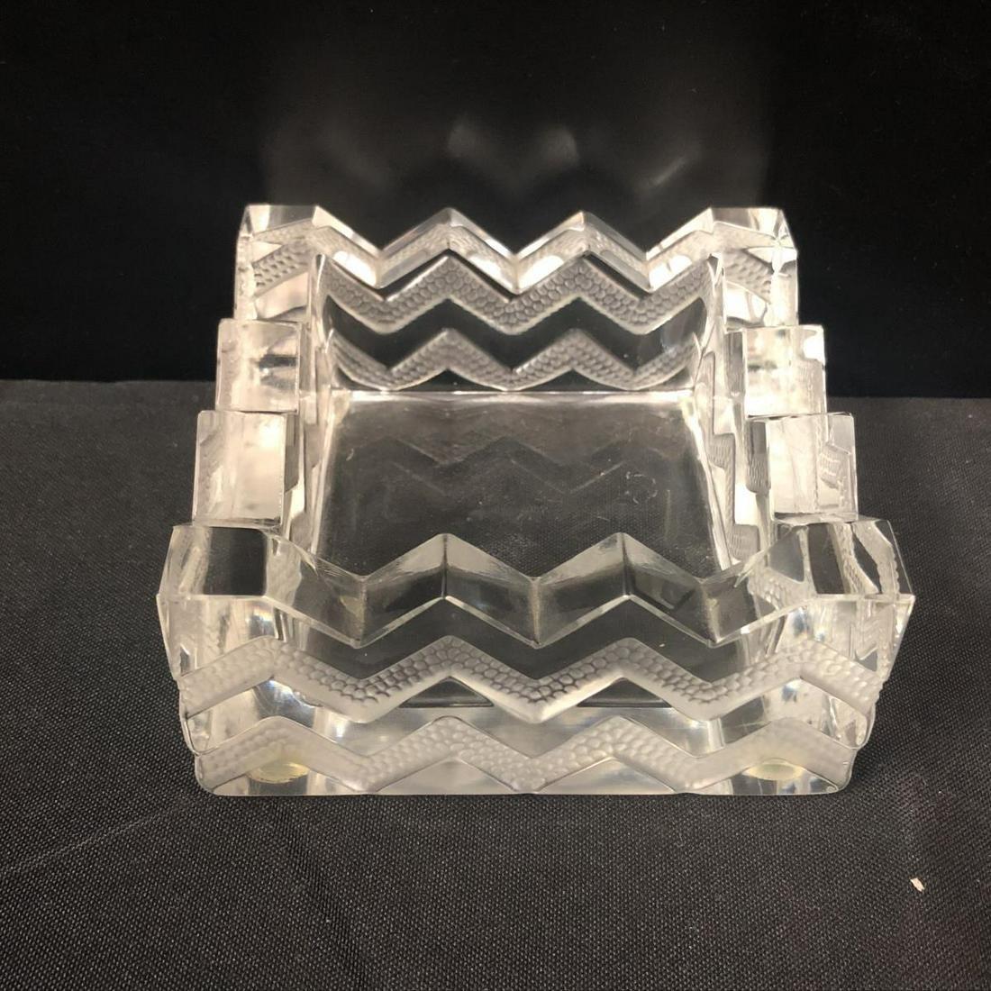 Lalique Crystal Square Art Deco Ashtray
