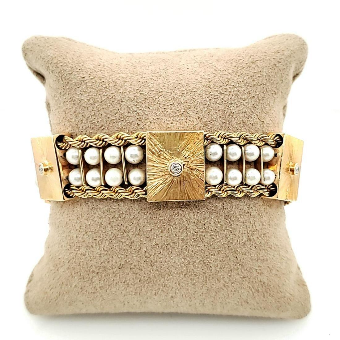 14kt yellow gold pearl bracelet