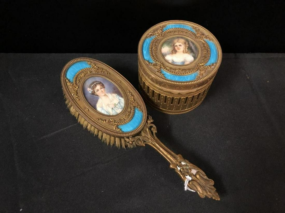 French Guilloche Enamel Hand Painted Vanity Set