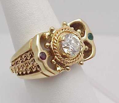 7: Man's ornate CZ Ring 14kt yellow gold