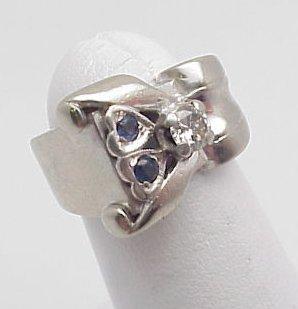 11: Diamond & Sapphire Retro Ring