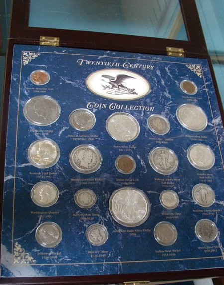 1001: Twentieth Century Coin Collection in glass framed