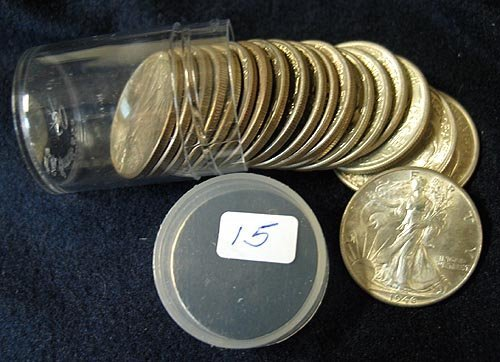 1015: 20 pc. Roll 1946 Walking Liberty Half Dollars $10
