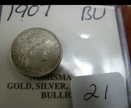 1021: 1907 Dime Brilliant Uncirculated