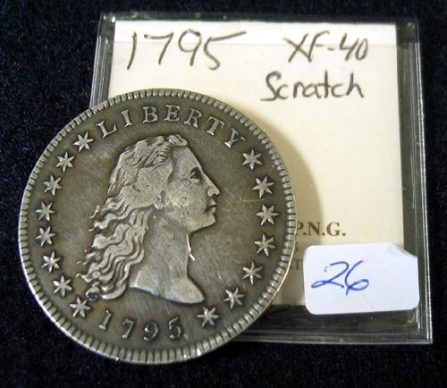 1026: 1795 Flowing Hair Silver Dollar XF 40 scratch