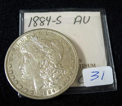 1031: 1884-S Morgan Silver Dollar AU