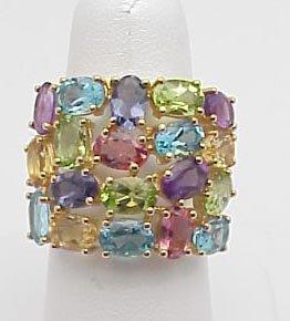 4007: Multi-color Semi-Precious Stone Ring