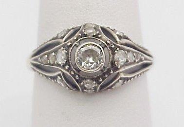 4012: Vintage Enamel & Diamond Engage. Ring