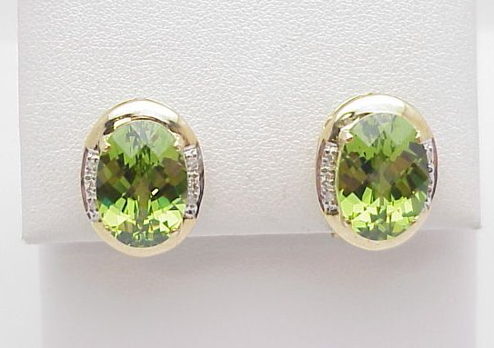 6013: Peridot Earrings 14mm x 10 mm 14kt
