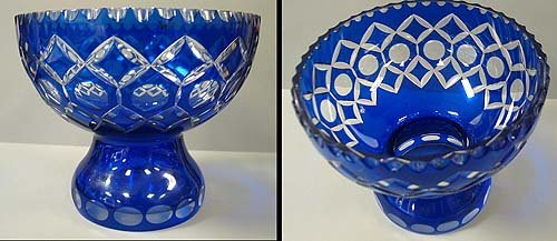 6002: Cobalt blue footed vase