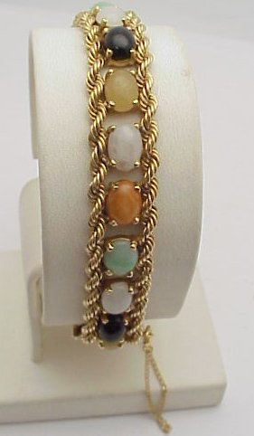 6020: Multi color Jade Bracelet 14kt