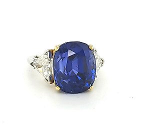Two Tone unheated sapphire and diamond ring, 20.06