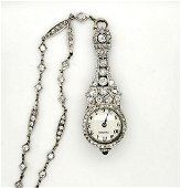 Vintage Cartier platinum diamond pendant watch