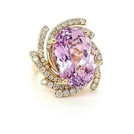 14kt yellow gold kunzite and diamond ring