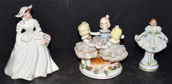 Lot of Three Ceramic Porcelain Lady Figurines