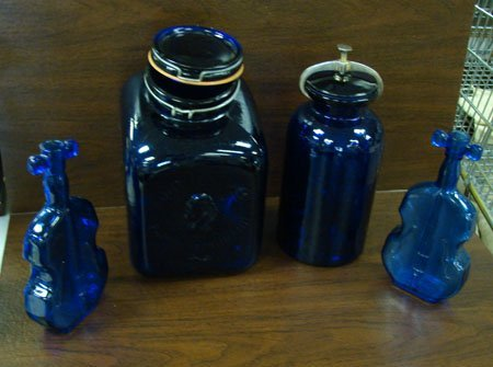 3: 4 pc. Lot Cobalt incl Flour canister