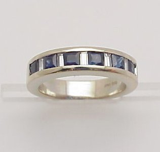 7: Lady's Sapphire & Diamond Wedding Band