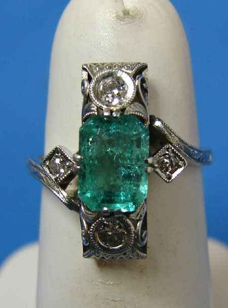 21: Vintage Platinum Emerald & Diamond Ring