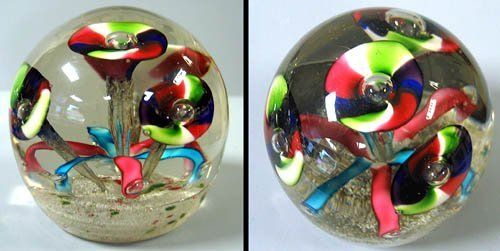 1: Paperweight with multi-colored flowers