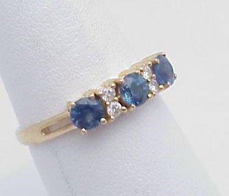 3: Blue Sapphire & Diamond Band 14kt