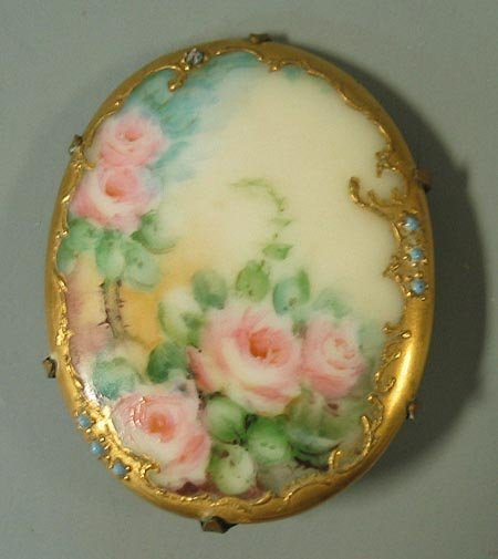 4: Porcelain hand painted brooch