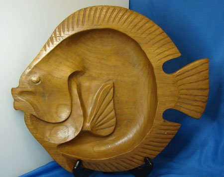 6: Hand carved Wooden Fish Serving Bowl