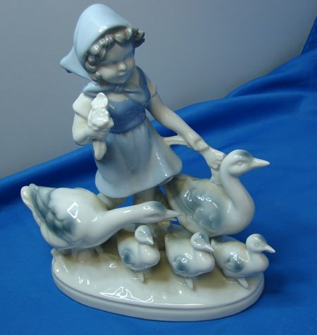 14: Porcelain Girl w/Geese West Germany