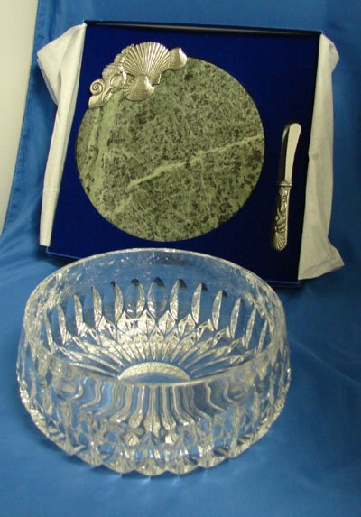 16: Gorham Crystal Bowl Marble Cheese plate