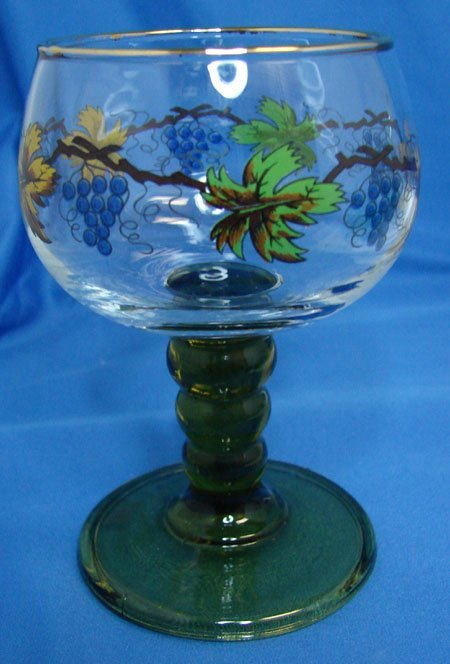 18: 6 Austrian Handpainted Wine Glasses