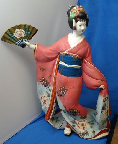 34: 2 Vintage Japanese Hakata Geisha Dolls - 4
