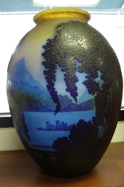 158: Galle French Cameo Glass Vase 13.5""