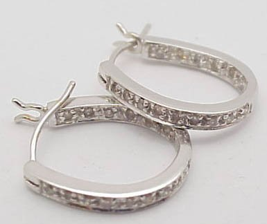 1: 14k white diamond hoop earrings