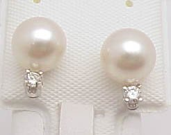 19: 14k 7.5mm/DiamondPearl earring studs