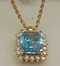 24: 14k Blue Topaz/Diamond pendant